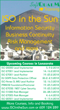 ISO in the Sun: Courses on risk, information security, business continuity, service, project and integrated management in Lanzarote